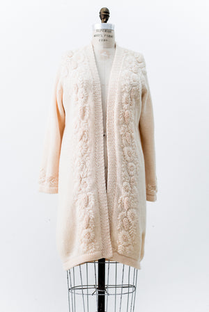 1950s Rare Wool Embroidered Cardigan - One Size