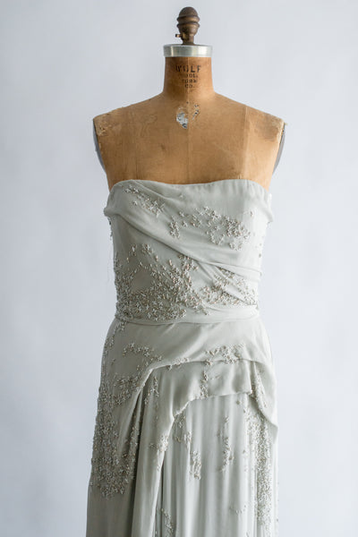 J Mendel Powder Blue Silk Beaded Gown - M (8/10)
