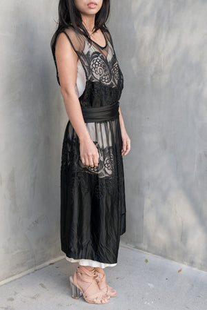 1920s Black Silk Embroidered Flapper Dress - S