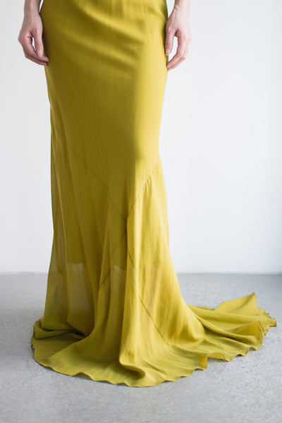 Silk Chartreuse Bias Gown - XS/S