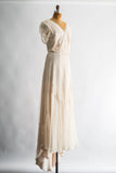 1970s Ivory/Shell Lace Cap Sleeves Trained Gown - M