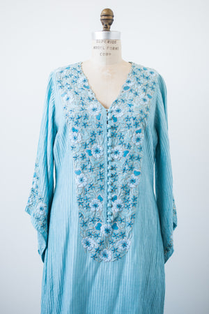 Vintage Embroidered Blue Caftan - M