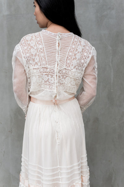 Antique Tulle and Valenciennes Edwardian Lace Dress - S