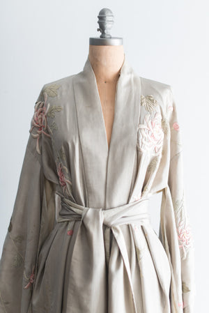 Antique Gray Silk Embroidered Kimono with Sash - One Size