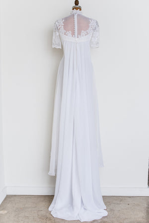 1970s Lace and Chiffon Gown - S/M