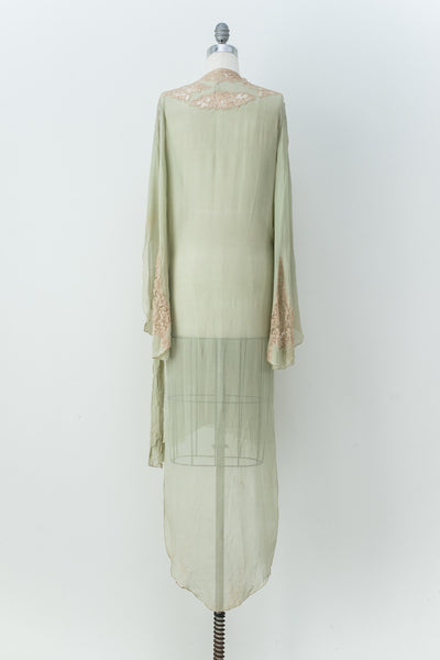 1920s Silk Light Green Dressing Robe  - M