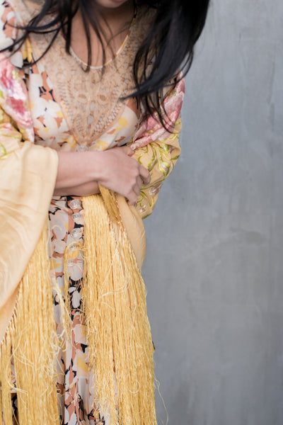 1920s Silk Yellow Embroidered Piano Shawl - One Size