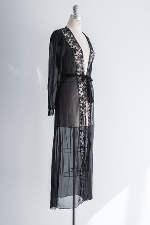1940s Black Chiffon Dressing Gown - S/M