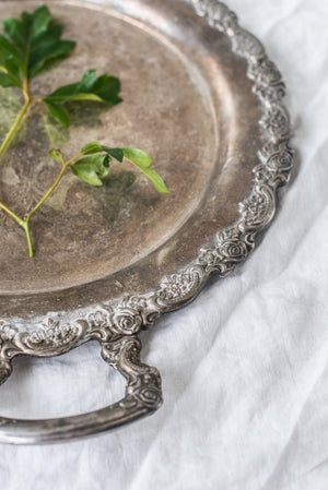 Antique Metal Round Tray