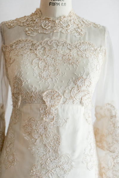 RESERVED 1960s Cream Beaded Lace Wedding Gown - S/M