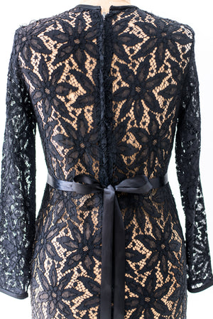 1960s Black Sheer Lace Shift Dress - M