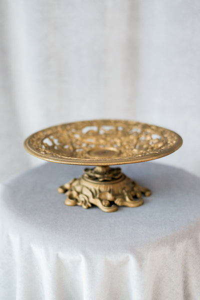 Vintage Brass Ornate Stand/Shallow Compote
