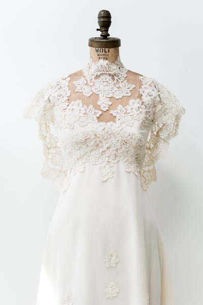 1960s Lace Wedding Gown - XS