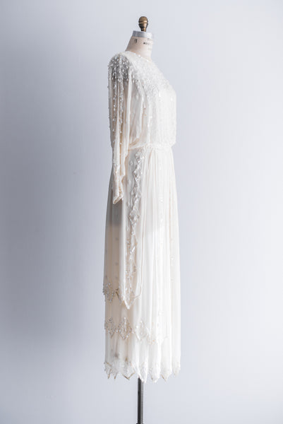 RESERVED- 06/18/15 1980s Silk Deco Style Dolman Sleeves Gown - S/M