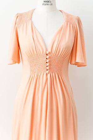 1970s Peach Smocked Waist Maxi Dress - M