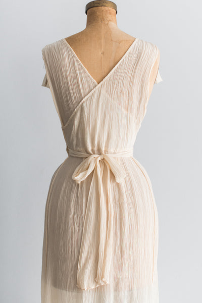 Vintage Silk Pleated Wrap Gown - S