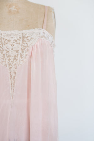 1920s Pink Silk Step-in Slip - S/M