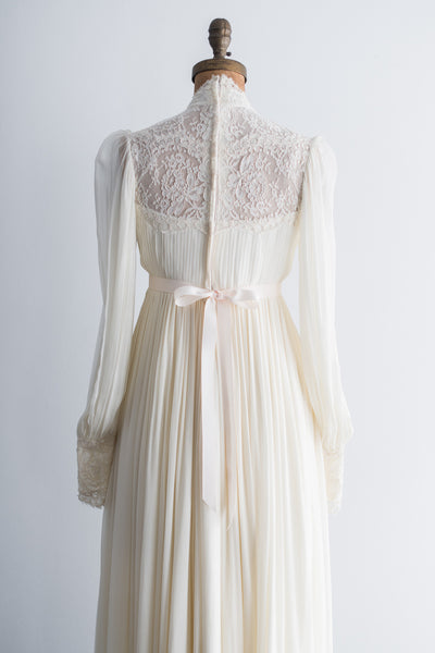 1960s Pleated Poet Sleeves Chiffon Lace Gown - S