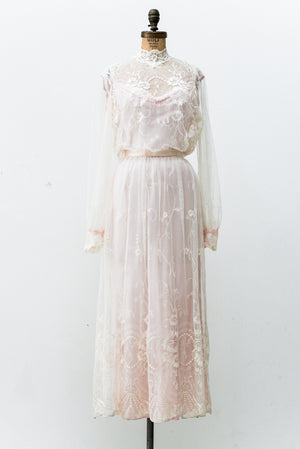 1980s Sheer Needle Lace Gown - M