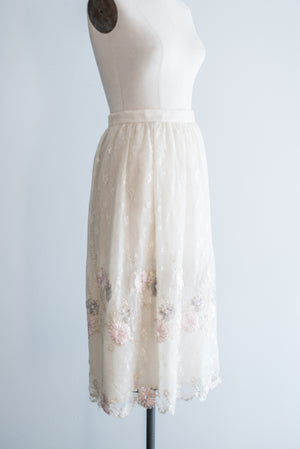 Vintage Silk Embroidered Lace Skirt - S/M