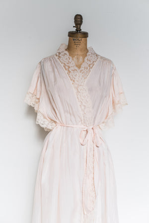 Vintage Silk Light Pink Dressing Robe - One Size