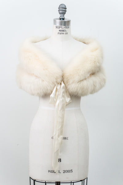 1950s Ivory Fur Stole - One Size