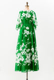 1970s Green Cotton Floral Dress - S/M