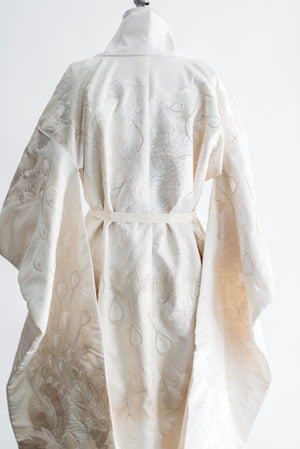 Vintage Ivory Embroidered Wedding Kimono - One Size