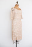 1950s Corded Lace Wiggle Dress - S