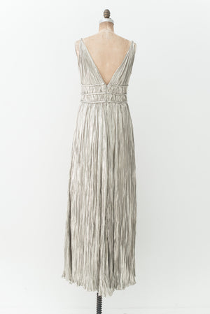 RENTAL Oscar De La Renta Metallic Pleated Gown - S/M