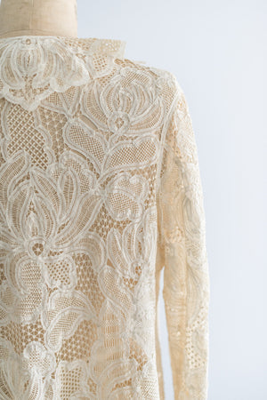[SOLD] Antique Edwardian Battenburg Lace Jacket - S/M