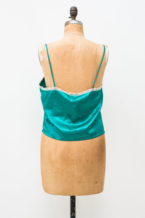 1980s Green Satin and Lace Top - L
