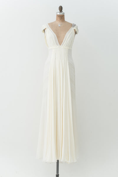 J. Mendel Buttercream Silk Gown - S
