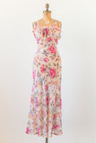 1930s Floral Bias Cut Dress - S