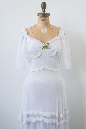 1940s White Tulle Gown - XS