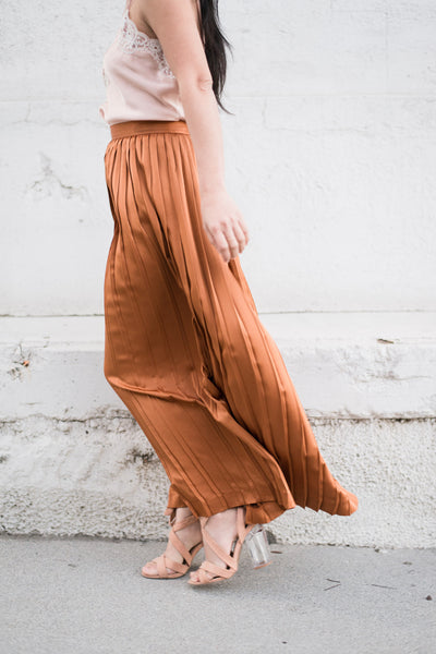 Vintage Copper Silk Pleated Skirt - S