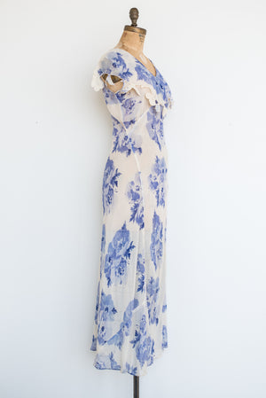 1930s Silk Blue Floral Bias Gown - S