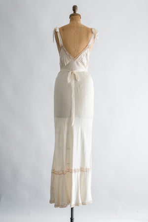 1930s Ivory Silk with Ecru Lace Slip Gown - S