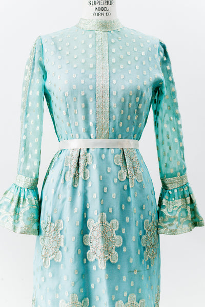 1960s Silk Organza Cyan and Gold Brocade Dress - M