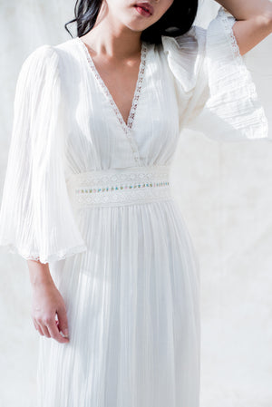 1970s V-Neck Cotton Gauze Dress - S