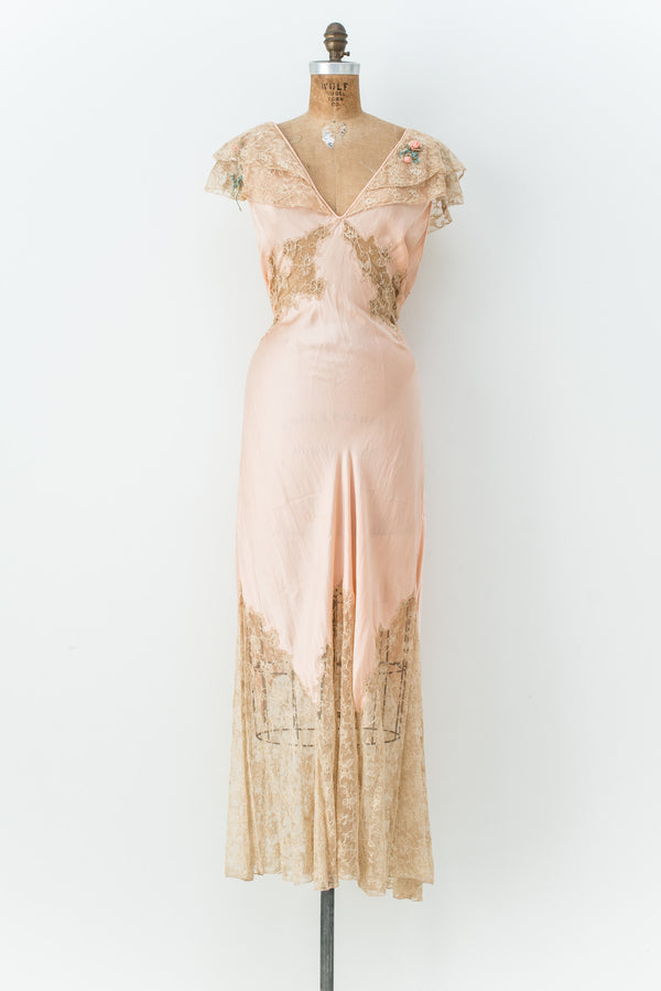 1930s Pink Silk Bias Gown - S