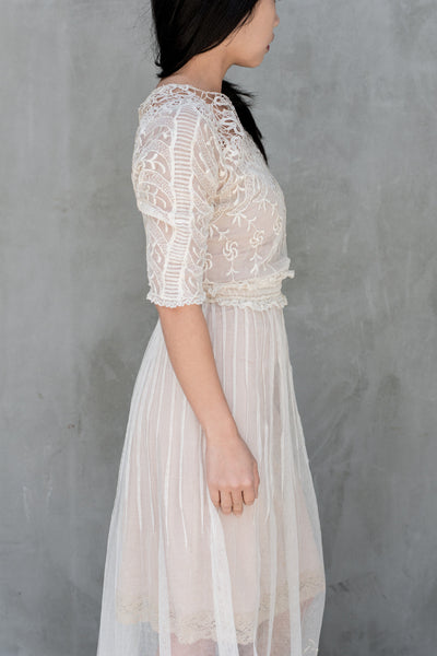 Antique Edwardian Embroidered Lace Gown - XS/S