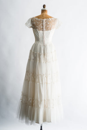 1950s Princess Silk Lace Gown - S