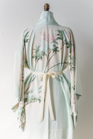 Vintage Mint Green Floral Embroidered Kimono - One Size