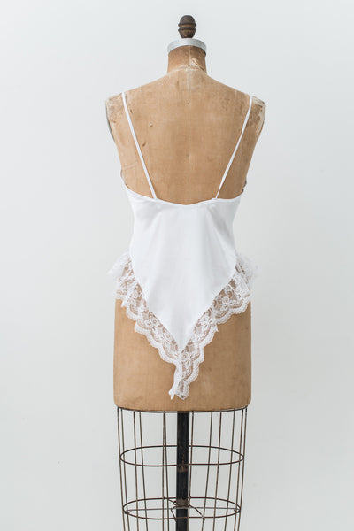 Vintage Ivory Lace and Satin Romper - S/M