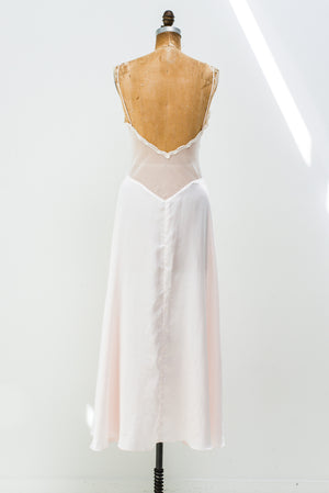 1980s Light Pink Satin and Lace Slip - M