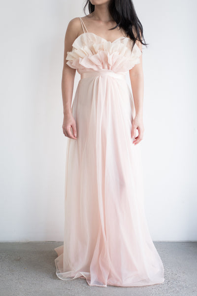 1960s Sheer Tricot Chiffon Tulip Bust Gown - S/M