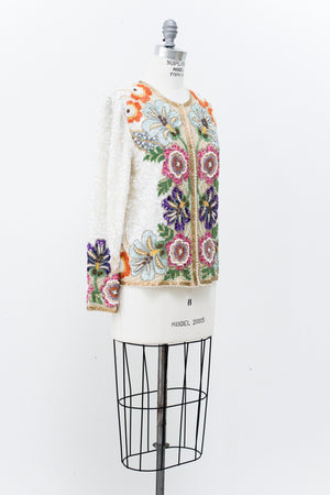 RESERVED 1980s Ivory Silk Beaded Jacket - M