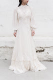 1970s Chiffon Pleated Lace Poet Sleeves Gown - S