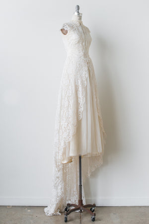 1950s Tulle and Lace Gown - S